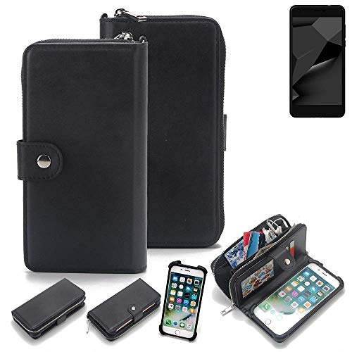 K-S-Trade 2in1 Handyhülle für Blaupunkt SL Plus 02 Schutzhülle & Portemonnee Schutzhülle Tasche Handytasche Case Etui Geldbörse Wallet Bookstyle Hülle schwarz (1x)