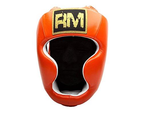 UK Ringmaster Boxen Kopfschutz Echtleder orange