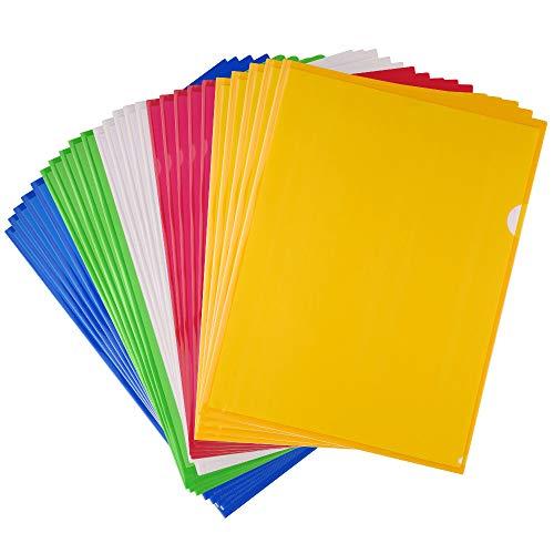 FEPITO 25 Pcs A4 Zip Document Dossier Pochette Flush Folders Plastique Porte documents Couleurs assorties