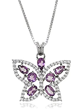 Gioiello Italiano Gabriella Silver Halskette aus Silber 925 und Zirkonia, Violett, mit Schmetterlings-Anhänger