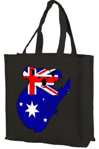 Bandiera dellAustralia Koala-Borsa per la spesa, in cotone (nero)