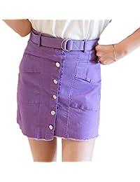 2f70858d9fd4 Tiadi Shop Enger Kurz Maxi-Rock Mädchen Damen Normallacks Hohe Taille  Figurbetont Röcke mit Gürtel