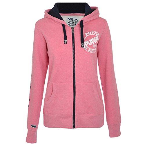 Puffa - sweatshirt à capuche femme - entièrement zippé rose chiné