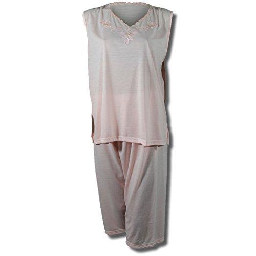 Shorty femme schlafshorty 2–haut sans manches avec fleurs en 8 couleurs Orange - orange/rosa