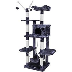 Songmics Árbol para gatos Rascador con nidos hamaca plataformas bolas de juego 154 cm colores opcionales Antracita PCT86G