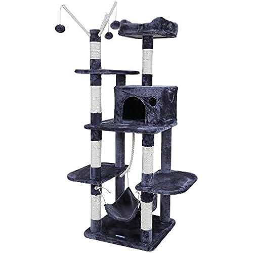 regalos tus mascotas mas kawaii Songmics Árbol para gatos Rascador con nidos hamaca plataformas bolas de juego 154 cm colores opcionales Antracita PCT86G