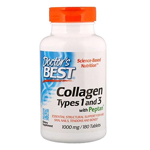 Doctor's Best , Kollagen Type 1 und 3 mit Peptan , 1000 mg , 180 Tabletten , Ohne Gentechnik , hochdosiert ,Glutenfrei (Beste Dr Kollagen)