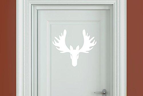 cool forward facing moose head door room sticker art decals - Bianco (Altezza 34cm x Larghezza 40cm)