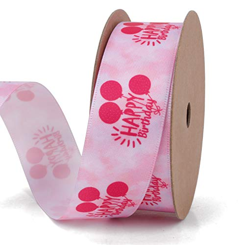 RUSPEPA Happy Birthday Printing Ribbon - 25Mm Breites Rosafarbenes Satinband Mit Ballon Und Happy Birthday Letters Printed - 10 Yard/Spool