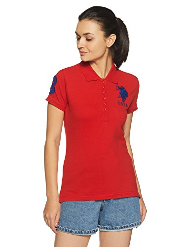 US Polo Association Women's Polo (UWTS0736!_High Risk Red!_Small)