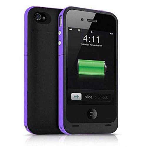 Ultra ® edición negro y púrpura 2500 mah casos de banco de potencia para Iphone 5 y 5s modelos recargable cerca montaje de batería de respaldo iOS10 caso slim (negro con un borde púrpura) a prueba de golpes