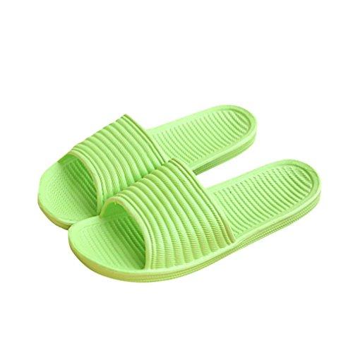 OVERMAL Bath Femmes Striped Flat Pantoufles Summer Sandals Pantoufles Indoor & Outdoor Vert