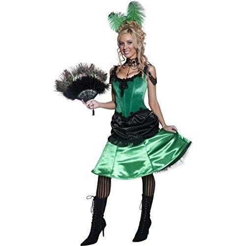 Saloon Dame Kostüm Westernkostüm Grün und Schwarz S 36/38 Damenkostüm Wilder Westen Tänzerin Showgirl Can Can (Playboy Bunny Grüne Kostüm)