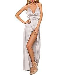 6a72d433091 Simplee Apparel Damen Partykleid Elegant V-Ausschnitt Rückenfrei Maxi Lang  Satin Träger Kleid Abendkleid Cocktailkleid