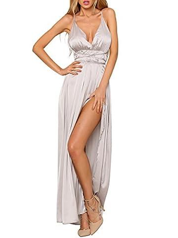 Simplee Apparel Women's V Neck Back Cross Side Split Satin Strap Slip Maxi Dress Party Sliver