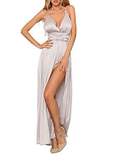 Simplee Apparel Damen Partykleid Sexy V-Ausschnitt Rückenfrei Maxi Lang Satin Träger Kleid Abendkleid Cocktailkleid Silber -
