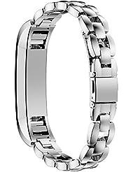 Fitbit Alta Bandas AIRED Smartwatch Accesorios Reemplazo de las bandas de reloj con acero inoxidable de metal y cierre de seguridad para Fitbit Alta Fitness Tracker (plata)