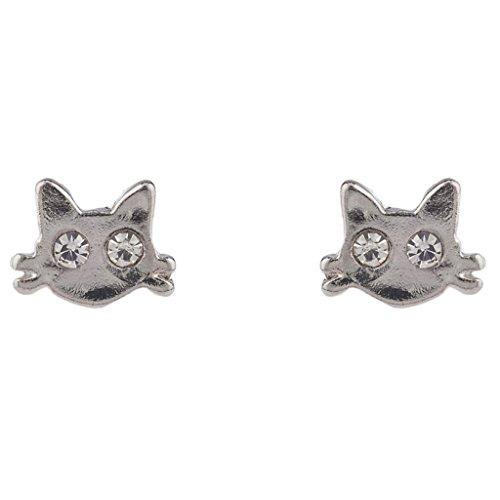 LUX Zubeh?r Silber Ton Kitty Katze Schnurrhaare Kristall Strass Ohrstecker Ohrring