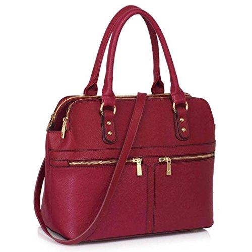 LeahWard Damen Große Taschen 3 Fächertaschen für Frauen Tragetaschen für Schule 00250 (BURGUND) (Gurt-reißverschluss-frauen-handtaschen)