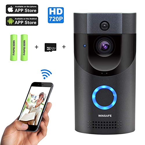 Intelligente Video-T¨¹rklingel 720P HD WINSAFE WiFi-?berwachungskamera mit Gong, Echtzeit-Gespr?ch und Video in Echtzeit, Nachtsicht, PIR-Bewegungserkennung und App-Steuerung f¨¹r iOS, Android