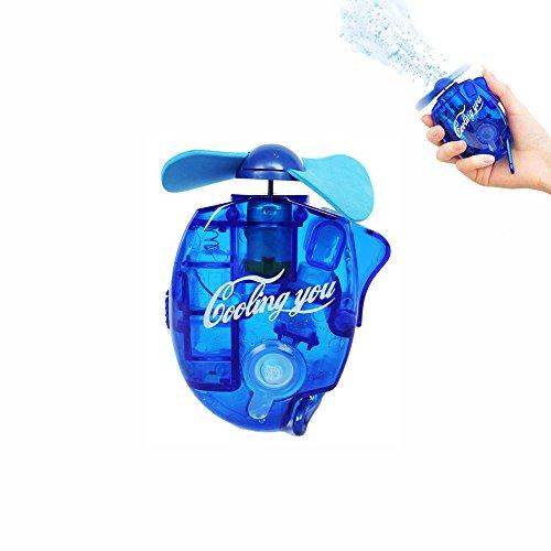 HKhuixin Sensación de frescor Ventilador de chorro de agua Mini ventilador de aire acondicionado manual Pocket Spray Mist Botella de agua Ventilador portátil con mosquetón