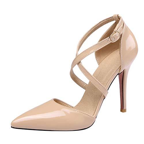 Patent Stiletto High Heel-schuhe (iYmitz Sommer Elegant Sandaletten Damen Hochhackig Kreuzgurte Spitz Patent Leder Sandalen Beiläufig High Heel Stiletto Mädchen Schuhe(Beige,EU 35))