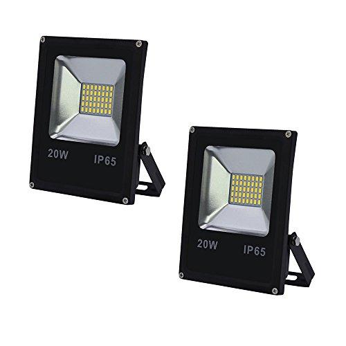VINGO® 2X 20W LED Fluter Flutlicht Kaltweiß Außen Strahler SMD IP65 Gartenstrahler (Aluminium-richtungs-flutlicht)