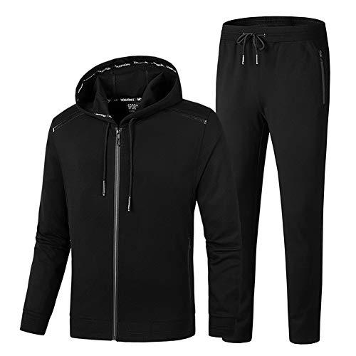 ZWYY Herren-Tracksuit, Long Sleeve Running Jogging Activewear Casual Athletic Sweatsuit Long Pants und Jacket Gym Sport 2 Piece Set Sportswear,Black,8XL Black Hooded Jogging-set