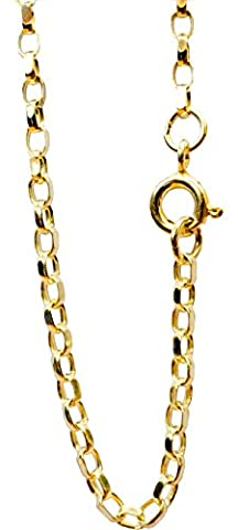 Sterling Silver Diamond cut Heavily 18ct Gold Plated Oval Link Belcher chain 2.3mm Wide 30 inch