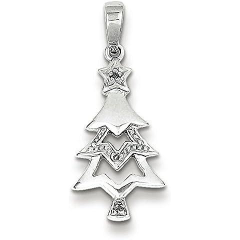 Sterling Argento Rodio Placcato Diamante Albero di Natale Ciondolo