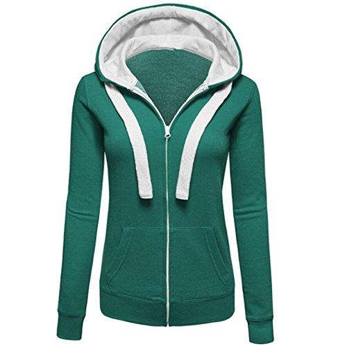 Femme Cardigan à capuche Extensible Devant Blousons Manteau Zip Contraste Fille Décontracté Manche Longue Sweats Tops Vert
