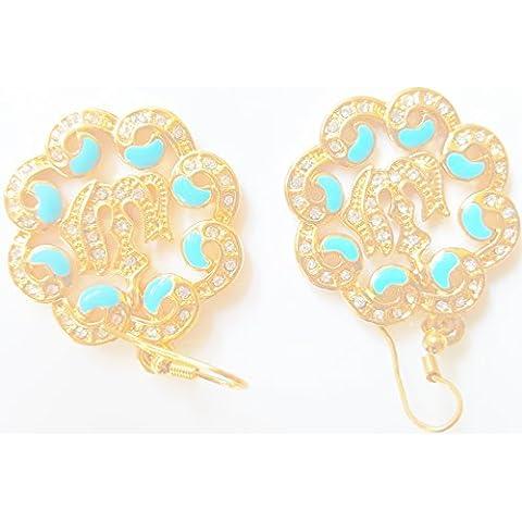 islamico Orecchini Regina Designer Donna Donna Ayat al kursi Muslim Allah cristallo orecchini 18K Real placcato oro Sura Muhammed Allah Eid