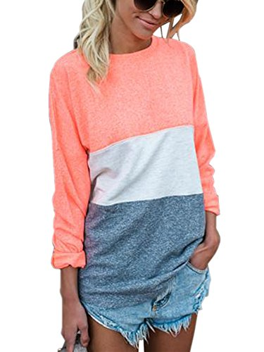 Outgobuy Women's Striped Long Sleeve Streifenshirt Sleeve O Neck Loose Blouse Basic T-Shirt (Medium, Orange) (Sleeve Long Top Striped)
