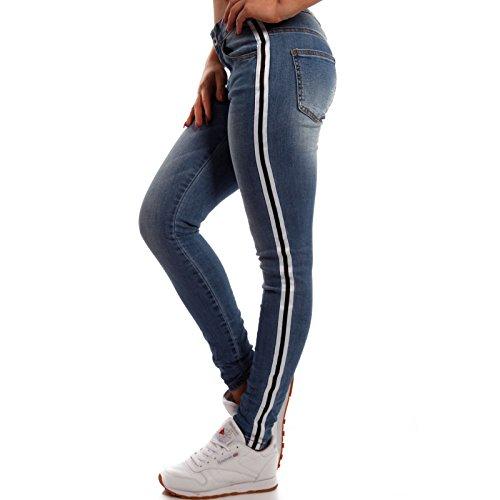 Damen Skinny-fit Jeans mit Seitenstreifen Jeansblau
