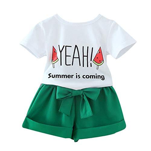 JUTOO Baby Mädchen 2 Stücke Set Kleinkind Kinder Brief Obst Tops T-Shirt + einfarbig Bowtie Kurze Hosen Outfit (Weiß,120)