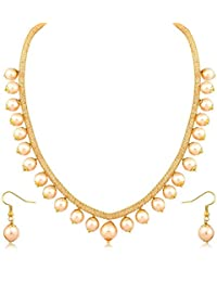Aabhu Gold Plated White Pearl Stylist Necklace Jewllery Set Mala Chain With Earrings For Women And Girl
