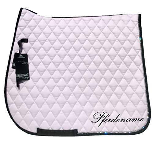EQuest Schabracke personalisiert mit Pferdename, Cotton. Diamant, Dressur in DREI schönen Pastellfarben (Rose)