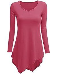 Blusas Mujer Camiseta Larga Camisas Cuello V Blusas Asimétricas Jersey A Línea Otoño Primavera Negro Blanco