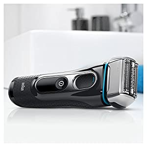 Braun Series 5 5197cc Men's Electric Foil Shaver, Wet and Dry with Clean and Charge Station, Pop Up Precision Trimer, Rechargeable and Cordless Razor Black/Blue/Chrome