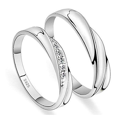 Bishilin 2 pcs placcato argento anello da donna uomo cristallo bianco anelli nuziale argento per coppie donna misura 12 + uomo misuar 25