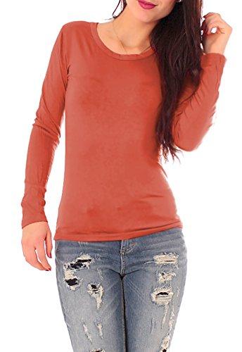 Easy Young Fashion Damen Basic Langarm Shirt Rundhals Terracotta