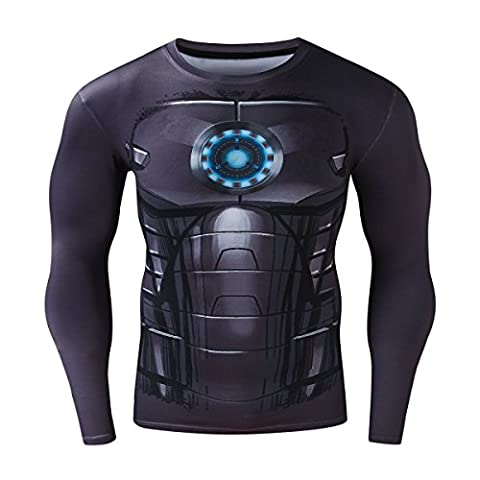 Cody Lundin Herren Mode schwarze Rüstung bedruckte lässige T-shirt Gentleman coole Muster Casual Hemd männlich Sport Dress-Party im freien Langarm (XXL)
