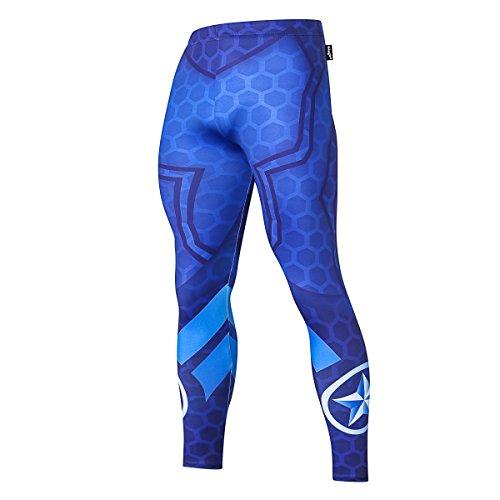 Fringoo® Herren Kompressions-Leggings, Superhelden-Strumpfhose, Unterwäsche, Leggings, Fitnessstudio, lange Laufen, Thermo-Workout Gr. X-Large, Capitan America Blue - Tights