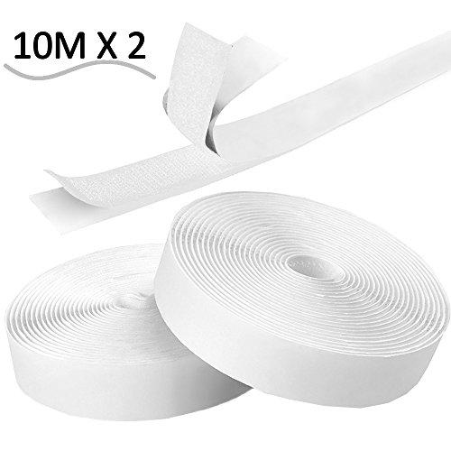 Preisvergleich Produktbild Doppelseitig Klebende, LZHOO Selbstklebend Klettverschluss Extra Stark Klettband Hakenband[10M]für Alle Arten von Grafikrahmen Installation, wasser hitzebeständig strapazierfähiges Material, 20mm breit