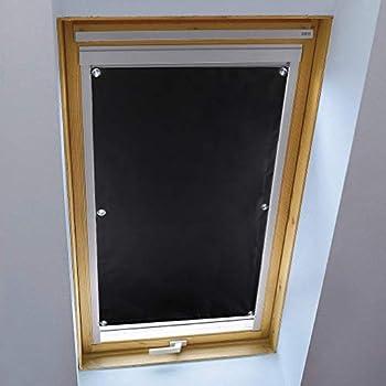 Kinlo Sans Perçage Store Occultant Pour Fenêtre De Toit 3875cm Installation Facile Store Enrouleur Noir à Ventouse En Polyester Rideaux Isolant