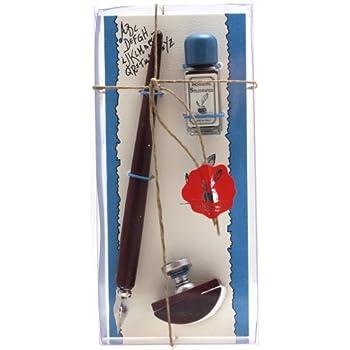 Coles Kit calligraphie Porte-plume en bois/tampon buvard/flacon d'encre