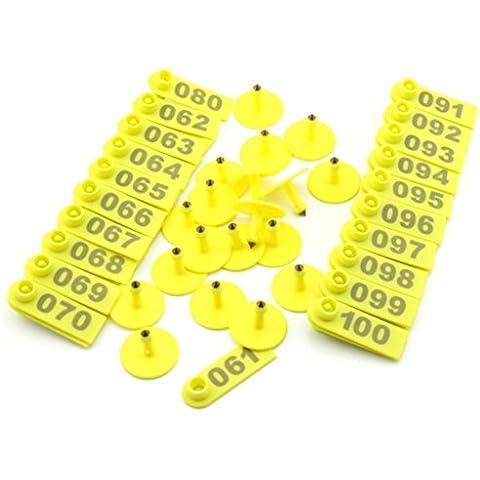 Confezione da 100 plastica a forma di maialino lattonzoli Scrofe tag con i numeri orecchio 001-100