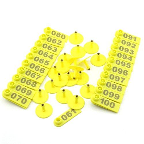 owfeel 100Stück Kunststoff Pig Ferkeln Anzeige Ohrmarke mit Zahlen 001–100gelb
