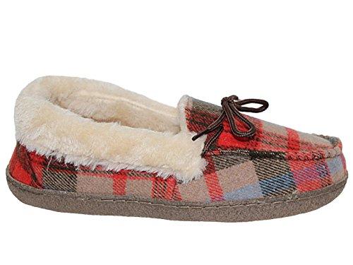 Femmes Nessie Tartan doublé de fausse fourrure Chaussons Chaussures Taille 3–8 Brown Tartan