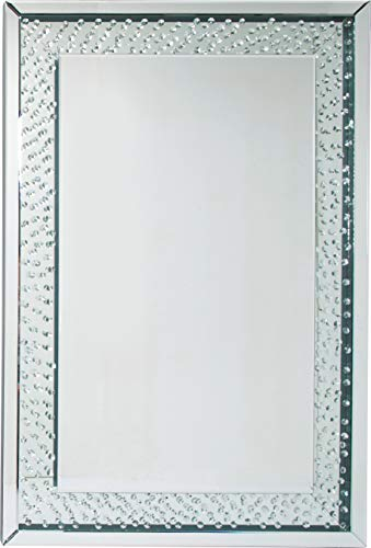 Kare Design Spiegel Raindrops, Wandspiegel mit tropfenverzierter Rahmenfläche, Badspiegel, Silber (H/B/T) 120x80x5,8cm